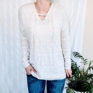 Sonoma Knit Sweater Hooded Cross Tie Front White S